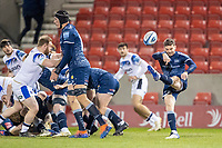 12th February 2021; AJ Bell Stadium, Salford, Lancashire, England; English Premiership Rugby, Sale Sharks versus Bath; Will Cliff of Sale Sharks clears the ball with a kick