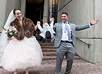 (Boston MA 04/07/17) Happy couple Joseph and Anne-Marie Sandoval of Boston, celebrate with their son Gunner, 23  months,  outside Boston City Hall after their wedding ceremony, Friday, April 7, 2017, in  Boston. (Herald Photo by Jim Michaud)