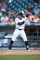 Jon Jay (3) of the Charlotte Hornets at bat against the Louisville Bats at BB&T BallPark on June 22, 2019 in Charlotte, North Carolina. The Hornets defeated the Bats 7-6. (Brian Westerholt/Four Seam Images)