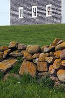 Detail of stone wall and barn. The Mitchell Farm, Corn Neck Road, Block Island, Rhode Island.