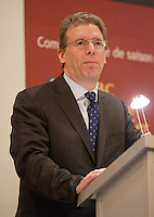 """Montreal (QC) CANADA, April 7, 2008- <br /> <br /> Tom Albanese, Chief Executive Officer of Rio Tinto, at the Canadian Club of Montreal's podium where he spoke about<br /> """"Rio Tinto: A world leader in mining and minerals, creating value and<br />     opportunity for Québec and Canada"""".<br /> <br /> <br /> <br /> photo : (c) ¨Pierre Roussel -  images Distribution"""