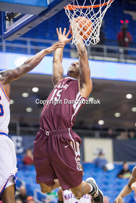 Arkansas Little Rock Trojans forward Stetson Billings (15) in action during the game between the Arkansas Little Rock Trojans and the Texas Arlington Mavericks at the College Park Center arena in Arlington, Texas. UALR defeats UTA 72 to 70.