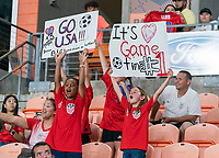HOUSTON, TX - JUNE 13: Fans cheer before a game between Jamaica and USWNT at BBVA Stadium on June 13, 2021 in Houston, Texas.