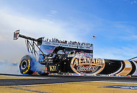 Aug. 19, 2011; Brainerd, MN, USA: NHRA top fuel dragster driver Del Worsham during qualifying for the Lucas Oil Nationals at Brainerd International Raceway. Mandatory Credit: Mark J. Rebilas-