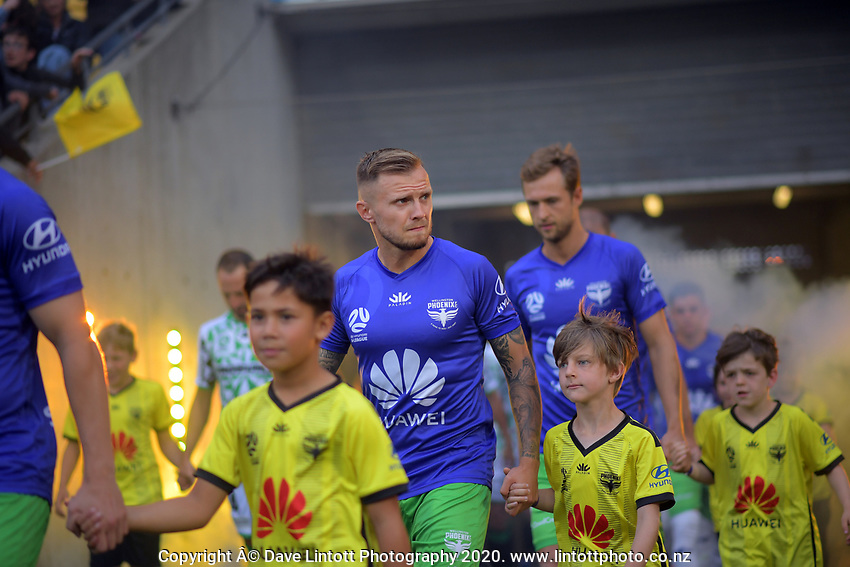 Phoenix's David Ball walks out for the A-League football match between Wellington Phoenix and Western United FC at Sky Stadium in Wellington, New Zealand on Friday, 21 February 2020. Photo: Dave Lintott / lintottphoto.co.nz