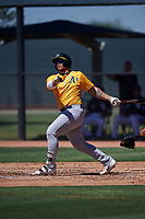 AZL Athletics Gold Gio Dingcong (14) at bat during an Arizona League game against the AZL White Sox on July 4, 2019 at Camelback Ranch in Glendale, Arizona. The AZL White Sox defeated the AZL Athletics Gold 6-2. (Zachary Lucy/Four Seam Images)