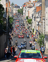 2nd July 2021; Le Creusot, France;  The peloton during stage 7 of the 108th edition of the 2021 Tour de France cycling race, a stage of 249,1 kms between Vierzon and Le Creusot