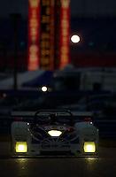 The #20 Dyson entry races into the International Horseshoe in the early morning twilight..39th Rolex 24 at Daytona, 3/4 February,2001 Daytona International Speedway  Daytona Beach,Florida,USA.©F.Peirce Williams 2001 ..
