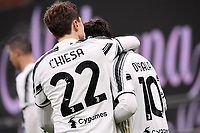 Federico Chiesa of Juventus FC celebrates with Paulo Dybala after scoring the goal of 0-1 during the Serie A football match between AC Milan and Juventus FC at San Siro Stadium in Milano  (Italy), January 6th, 2021. Photo Federico Tardito / Insidefoto