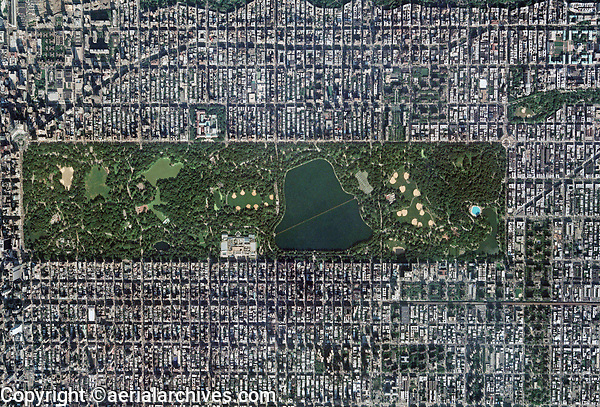 aerial photo map of Central Park and midtown Manhattan, New York City, 2006. For more recent imagery of this same view or similar views of New York City, please contact Aerial Archives directly.
