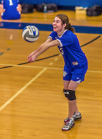 26 October 2014: Yeshiva University Maccabee Middle Blocker Shana Wolfstein, a Senior from Burlington,VT, warms up prior to a game against the Maritime College Privateers, at the College of Mount Saint Vincent, in Riverdale, NY. The Privateers defeated the Maccabees 3-0 in the NCAA Division III Women's Volleyball Skyline matchup. Mandatory Credit: Ed Wolfstein Photo *** RAW (NEF) Image File Available ***