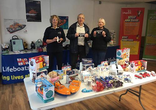 Larne RNLI volunteer fundraisers Esther Dorman, Stephen Craig and Pamela McAuley