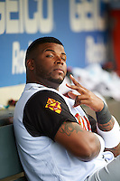Rochester Red Wings designated hitter Kennys Vargas (35) poses for the camera during a game against the Toledo Mudhens on June 12, 2016 at Frontier Field in Rochester, New York.  Rochester defeated Toledo 9-7.  (Mike Janes/Four Seam Images)