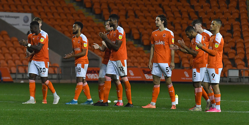 The Blackpool players are glad to win the penalty shoot out<br /> <br /> Photographer Dave Howarth/CameraSport<br /> <br /> EFL Trophy Northern Section Group G - Blackpool v Barrow - Tuesday 8th September 2020 - Bloomfield Road - Blackpool<br />  <br /> World Copyright © 2020 CameraSport. All rights reserved. 43 Linden Ave. Countesthorpe. Leicester. England. LE8 5PG - Tel: +44 (0) 116 277 4147 - admin@camerasport.com - www.camerasport.com