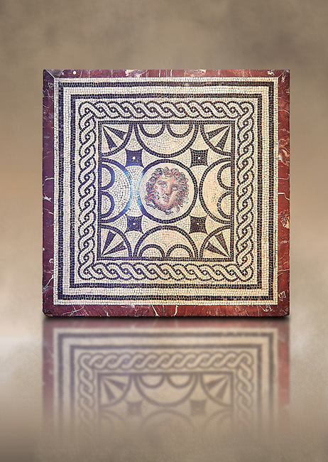 Roman Mosaic with the head of Medusa, from Casa delle Vestali, Pompeii , Naples National Archaeological Museum ,  art background