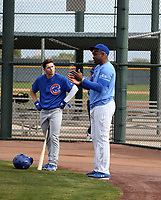 Cole Roederer (left), hitting coach Desi Wilson (right) - Chicago Cubs 2019 spring training (Bill Mitchell)