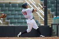 Nick Madrigal (10) of the Kannapolis Intimidators follows through on his swing against the Hagerstown Suns at Kannapolis Intimidators Stadium on July 17, 2018 in Kannapolis, North Carolina. The Intimidators defeated the Suns 10-9. (Brian Westerholt/Four Seam Images)