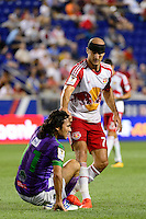 Harrison, NJ - Wednesday Aug. 03, 2016: Agustin Herrera, Aurelien Collin during a CONCACAF Champions League match between the New York Red Bulls and Antigua at Red Bull Arena.