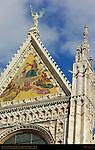 Central Tower and Gable, Mosaic Coronation of the Virgin, Alessandro Franchi 1878, Cathedral of Siena, Santa Maria Assunta, Siena, Italy