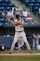 Aberdeen Ironbirds Andrew Daschbach (28) at bat during a NY-Penn League game against the Staten Island Yankees on August 22, 2019 at Richmond County Bank Ballpark in Staten Island, New York.  Aberdeen defeated Staten Island 4-1 in a rain shortened game.  (Mike Janes/Four Seam Images)