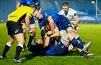 19th March 2021; RDS Arena, Dublin, Leinster, Ireland; Guinness Pro 14 Rugby, Leinster versus Ospreys; Owen Watkin of Ospreys on his way to scoring a try despite Devin Toner of Leinster efforts 19 - 17