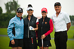 HAIKOU, CHINA - OCTOBER 27: (L-R) Former golf world number one Lorena Ochoa of Mexico, oscar-winning actress Catherine Zeta-Jones, Belen Mozo of Spain and golf legend Greg Norman pose ahead of the inaugural Mission Hills Star Trophy on October 27, 2010 in Haikou, China.  The Mission Hills Star Trophy is Asia's leading leisure liflestyle event and features Hollywood celebrities and international golf stars. Photo by Victor Fraile / The Power of Sport Images