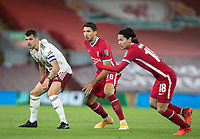1st October 2020; Anfield, Liverpool, Merseyside, England; English Football League Cup, Carabao Cup, Liverpool versus Arsenal; Granit Xhaka of Arsenal and Marko Grujic of Liverpool are poised to challenge for the ball