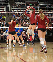 STANFORD, CA - NOVEMBER 17: Stanford, CA - November 17, 2019: Jenna Gray, Madeleine Gates, Meghan McClure at Maples Pavilion. #4 Stanford Cardinal defeated UCLA in straight sets in a match honoring neurodiversity. during a game between UCLA and Stanford Volleyball W at Maples Pavilion on November 17, 2019 in Stanford, California.