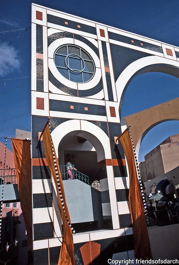 Horton Plaza: Designed by Jon Jerde, Architect. Post-Modern, whimsical.  Photo Jan. 1987.