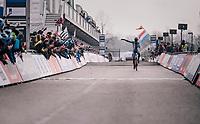 Tomas Kopecky (CZE) finishing 2nd with a 'dap'<br /> <br /> Junior Men's Race<br /> UCI CX Worlds 2018<br /> Valkenburg - The Netherlands