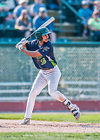 4 September 2017: Vermont Lake Monsters infielder Jesus Lage at bat in the 7th inning during the first game of a double-header against the Tri-City ValleyCats at Centennial Field in Burlington, Vermont. The Lake Monsters split their games, falling 6-5 in the first, then winning the second 7-4, thus clinching the NY Penn League Stedler Division Championship. Mandatory Credit: Ed Wolfstein Photo *** RAW (NEF) Image File Available ***