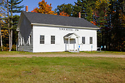 New Hampton Meeting House in New Hampton, New Hampshire during the autumn months. Built in 1798, this meeting house is also known as the New Hampton Town House. It was added to the National Register of Historic Places in 1998.