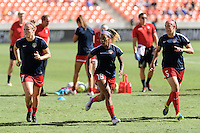 Houston, TX - Sunday Oct. 09, 2016: Christine Nairn, Crystal Dunn, Whitney Church prior to the National Women's Soccer League (NWSL) Championship match between the Washington Spirit and the Western New York Flash at BBVA Compass Stadium. The Western New York Flash win 3-2 on penalty kicks after playing to a 2-2 tie.
