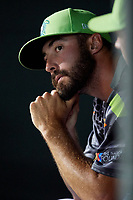 Daytona Tortugas relief pitcher Ryan Hendrix (21) in the dugout during a game against the Jupiter Hammerheads on April 13, 2018 at Jackie Robinson Ballpark in Daytona Beach, Florida.  Daytona defeated Jupiter 9-3.  (Mike Janes/Four Seam Images)