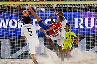 29th August 2021; Luzhniki Stadium, Moscow, Russia: FIFA World Cup Beach Football tournament; Russia versus Japan;  Fedor Zemskov of Russia challenges Ozu Moreira of Japan, during the match between Russia and Japan