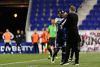 Harrison, NJ - Wednesday Feb. 22, 2017: Kekuta Manneh, Carl Robinson during a Scotiabank CONCACAF Champions League quarterfinal match between the New York Red Bulls and the Vancouver Whitecaps FC at Red Bull Arena.