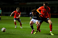 23rd February 2021; Kenilworth Road, Luton, Bedfordshire, England; English Football League Championship Football, Luton Town versus Millwall; Sonny Bradley of Luton Town challenges Tom Bradshaw of Millwall