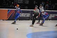 SPEEDSKATING: DORDRECHT: 06-03-2021, ISU World Short Track Speedskating Championships, SF 500m Men, Shaoang Liu (HUN), Konstantin Ivliev (RSU), Semen Elistratov (RSU), Vladislav Bykanov (ISR), ©photo Martin de Jong