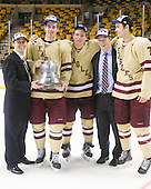 ?, Kevin Hayes (BC - 12), Bill Arnold (BC - 24), Patrick Brown (BC - 23), Isaac MacLeod (BC - 7) - The Boston College Eagles defeated the Boston University Terriers 3-2 (OT) to win the 2012 Beanpot championship on Monday, February 13, 2012, at TD Garden in Boston, Massachusetts.