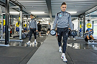 Yan Dhanda (L) and Connor Roberts exercise in the gym during the Swansea City Training Session at The Fairwood Training Ground, in Swansea, Wales, UK. Wednesday 06 March 2019