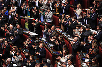 Senatori e deputati applaudono al momento del raggiungimento del quorum durante la sesta seduta comune per l'elezione del Capo dello Stato, alla Camera dei Deputati, Roma, 20 aprile 2013. Il presidente Napolitano ha ottenuto un secondo mandato..Italian deputies and senators applaud during the fifth common plenary session to elect the Head of State, at the Lower Chamber in Rome, 20 April 2013. Outgoing president Giorgio Napolitano obtained a second 7-years term..UPDATE IMAGES PRESS/Isabella Bonotto
