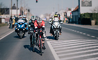 Jasper Stuyven (BEL/Trek-Segafredo) & Daniël Oss (ITA/Bora Hansgrohe) try to stay away from a chasing peloton <br /> <br /> 70th Kuurne-Brussel-Kuurne 2018<br /> Kuurne › Kuurne: 200km (BELGIUM)
