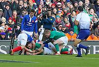 Sunday10th March 2019 | Ireland vs France<br /> <br /> Jack Conan scores during the Guinness 6 Nations clash between Ireland and France at the Aviva Stadium, Lansdowne Road, Dublin, Ireland. Photo by John Dickson / DICKSONDIGITAL
