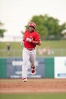 Springfield Cardinals outfielder Johan Mieses (41) jogs to third after hitting a three-run home run on May 16, 2019, at Arvest Ballpark in Springdale, Arkansas. (Jason Ivester/Four Seam Images)