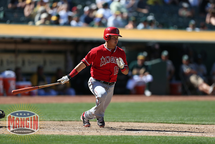 OAKLAND, CA - MAY 1:  Hank Conger #16 of the Los Angeles Angels bats during the game against the Oakland Athletics at O.co Coliseum on May 1, 2013 in Oakland, California. Photo by Brad Mangin