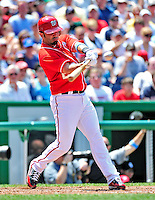 20 June 2010: Washington Nationals' catcher Wil Nieves hits an RBI single against the Chicago White Sox in the 5th inning at Nationals Park in Washington, DC. The Nationals were swept by the White Sox falling 6-3 in the last game of their 3-game interleague series. Mandatory Credit: Ed Wolfstein Photo
