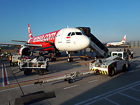 Air Asia airbus plane at Yogyakarta Airport<br /> <br /> NOTE : mobile phone photo