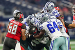 Dallas Cowboys defensive tackle Daniel Wise (64) in action during the pre-season game between the Tampa Bay Buccaneers and the Dallas Cowboys at the AT & T Stadium in Arlington, Texas.