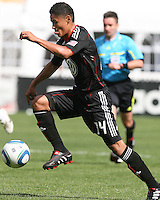 Andy Najar #14 of D.C. United pushes forward during an MLS match against the New York Red Bulls on May 1 2010, at RFK Stadium in Washington D.C.