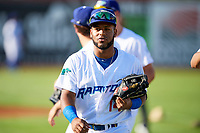 Samuel Ortiz (14) of the Ogden Raptors before the game against the Orem Owlz in Pioneer League action at Lindquist Field on June 21, 2017 in Ogden, Utah. The Owlz defeated the Raptors 16-5. This was Opening Night at home for the Raptors.  (Stephen Smith/Four Seam Images)